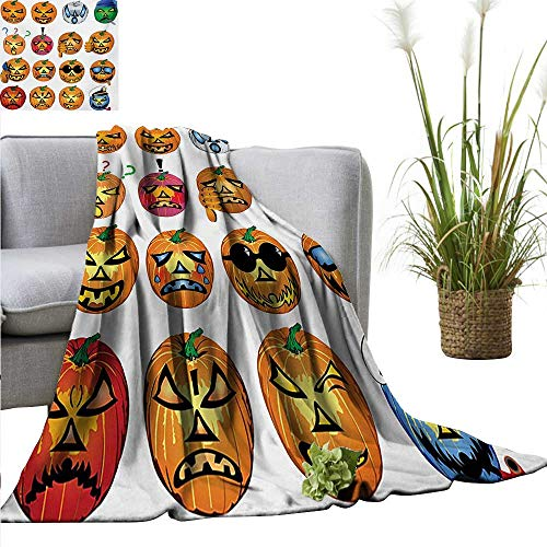 AndyTours Flannel Throw Blanket,Halloween,Carved Pumpkin with Emoji Faces Halloween Inspired Humor Hipster Monsters Artwork,Orange,for Bed & Couch Sofa Easy Care - Blanket Oak Carved