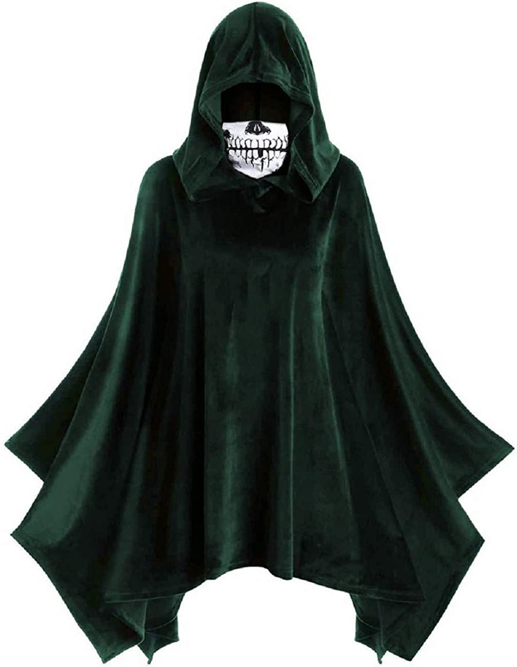 FAPIZI Womens Fashion Halloween Hooded Tops Funny Skull Mask Print Solid Color Vintage Irregular Cloak Cape Hoodies