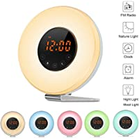 Sunrise Alarm Clock,Wake Up Light with Sunrise Sunset Simulation Brightness Auto Adjustment, 6 Natural Sounds, FM Radio, 6 Colors LED Night Light for Kids Adult and Bedside