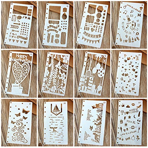 Painting Stencils Template Drawing Hollow Scale Stencil Set for Loose Leaf A6 Bullet Notebook Scrapbooking Journal Diary Albums Card 8-Ring Paper Inserts DIY Art Craft Projects Decorations 12 Pack