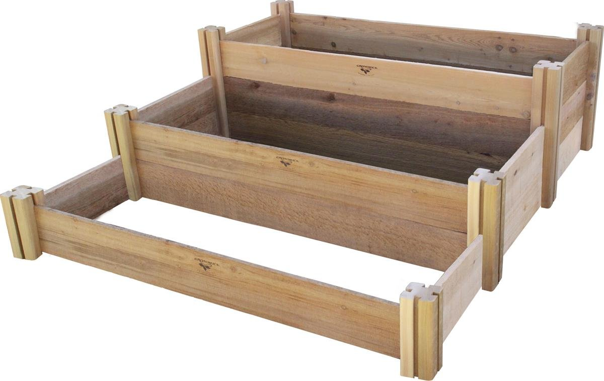 Gronomics Multi-Level Rustic Raised Garden Bed, 48 by 50 by 19''