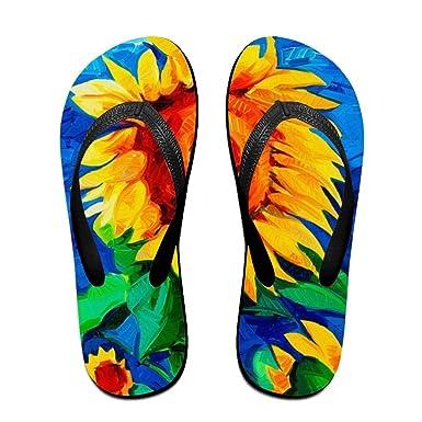 ae9af0cb5 Amazon.com  Creative Fall Sunflower Unisex Comfortable Beach Flip Flops  Sandals Slippers Sandal For Home   Beach  Clothing