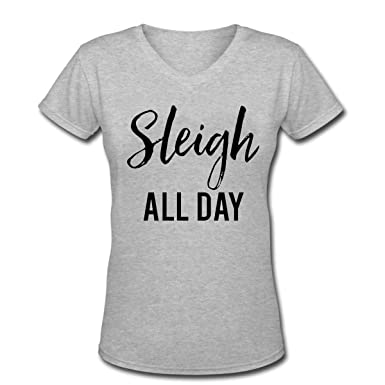 e2e856e18b Amazon.com: SLEIGH ALL DAY Women's Short Sleeve Cotton V-Neck T-Shirt:  Clothing