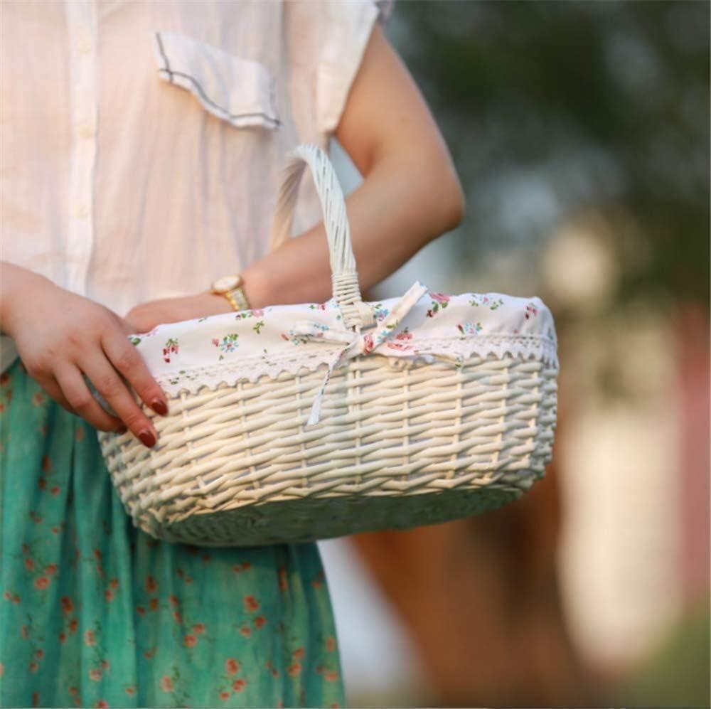 Nuokix Blanca de Picnic Cesta de Mimbre Recoger Regalos Ropa del bebé recogido de Mano del Fruta de 40 x 34 x 15 cm Bolsas de Picnic Cocina para Guardar Objetos
