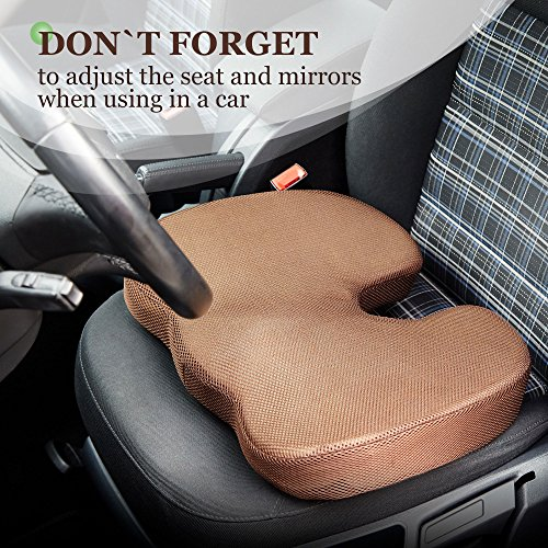 Womby Orthopedic Memory Foam Seat Cushion (U-Type) by Orthopedic Coccyx Pillow for Office Chair, Car, Plane – Best Design to Relieve Back, Sciatica and Tailbone Pain – Non-Slip, Washable Cover by Womby (Image #4)