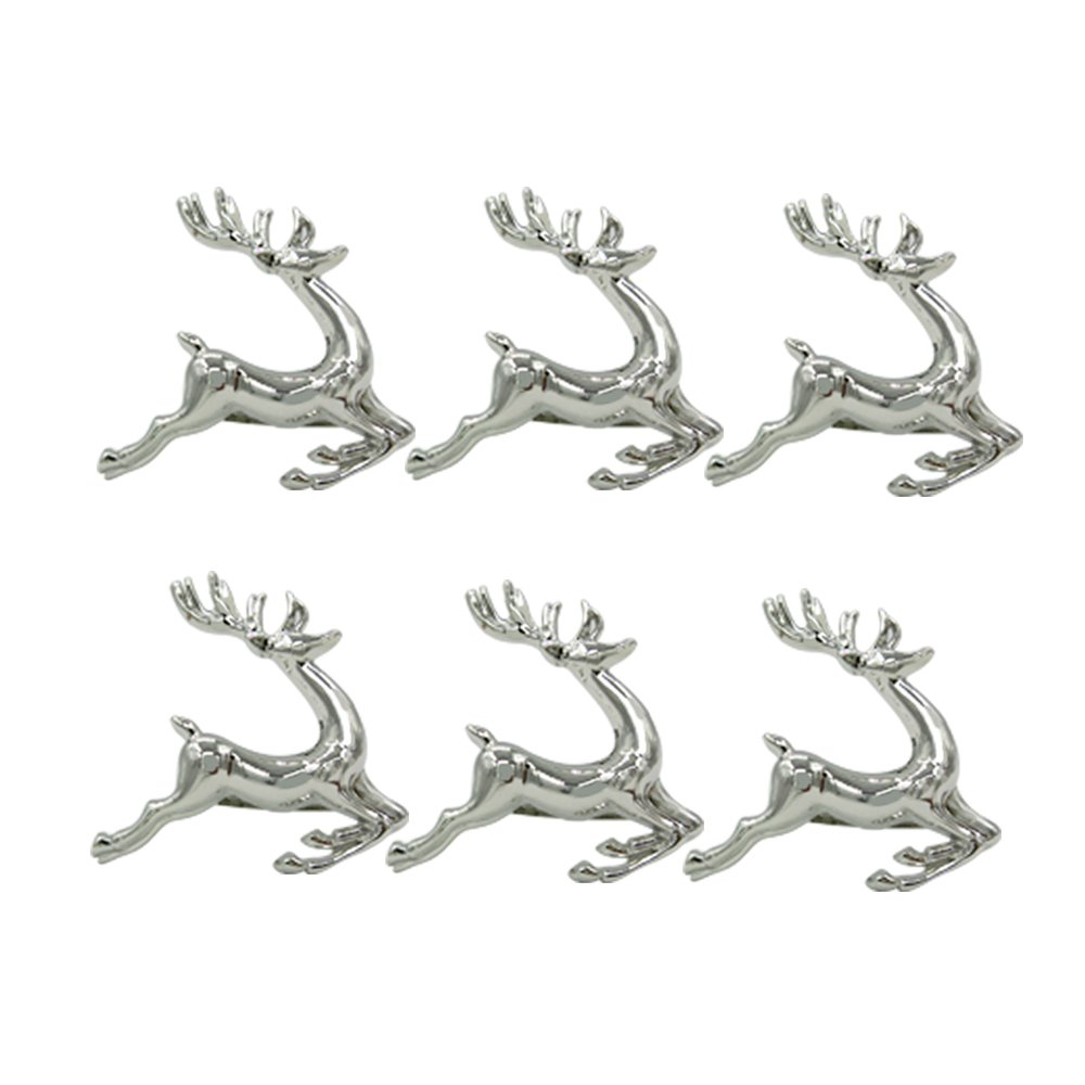 Elehere Silver Deer Napkin Rings Holders for Dinners Parties Everyday Home Table Decoration Accessory Adornment For Wedding Set of 6