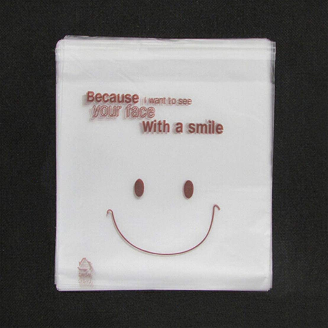 Kissherely 50Pcs Transparent Cookie Bag Smiley Face Pattern Self-adhesive Sweets Candy Packaging Plastic Bag Birthday Party Gift Pouch
