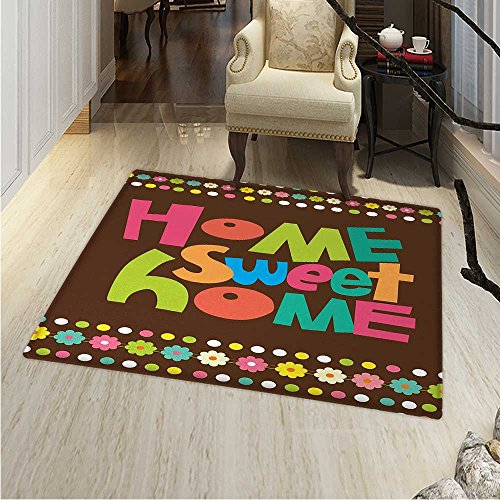 Home Sweet Home Anti-Skid Area Rug Retro Cartoon Style Funky Colorful Letters Floral Borders Dots Soft Area Rugs 4'x6' Multicolor