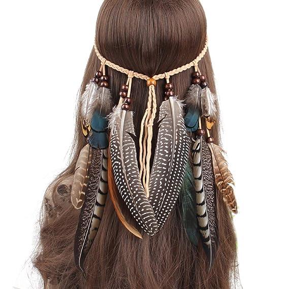 Repuhand Indio Diadema Boho Hippie Borlas De Plumas Headwear Tocados De Disfraces Tribal Accesorios para mujeres ni/ñas