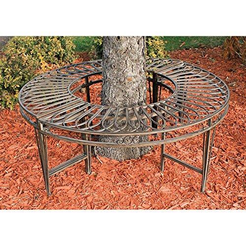 Garden Curved Bench (Design Toscano ZJ12063 Roundabout Circular Garden Tree Bench Seat, 47 Inch, Grey)