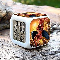Spider-Man 7 Color Changing Led Digital Alarm Clocks For Kids