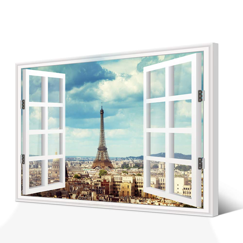 Vvovv wall decor paris eiffel tower poster art print on canvas vintage city building in paris france picture canvas prints creative window frame style