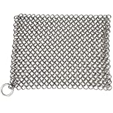 """Lajer Stainless Steel Cast Iron Cleaner Cookware Scrubber, Skillet Grill Scraper with Hanging Ring Anti-Rust 7.5"""" x 6"""" Square (Silver)"""