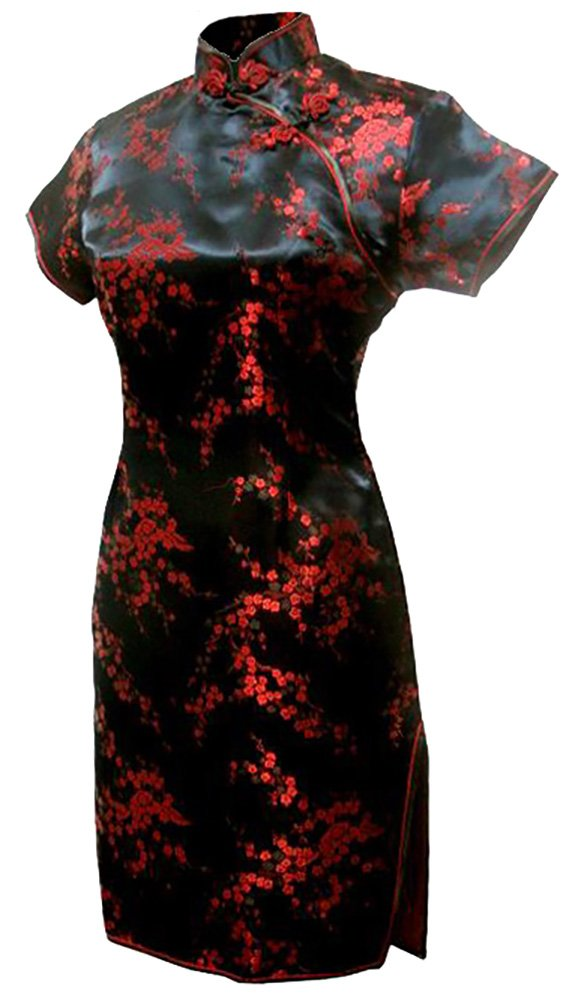 7Fairy Women's Black&Red Floral Mini Chinese Evening Dress Cheongsam Size 14 US