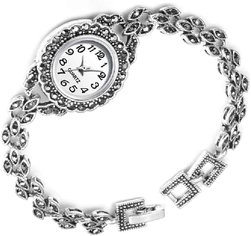 LYAO Reloj De Pulsera De Plata Antigua Pulsera De Diamantes De Imitación Turca Relojes Mujer Vintage Ginebra Diseñador Reloj De Cuarzo para Mujer Blanco