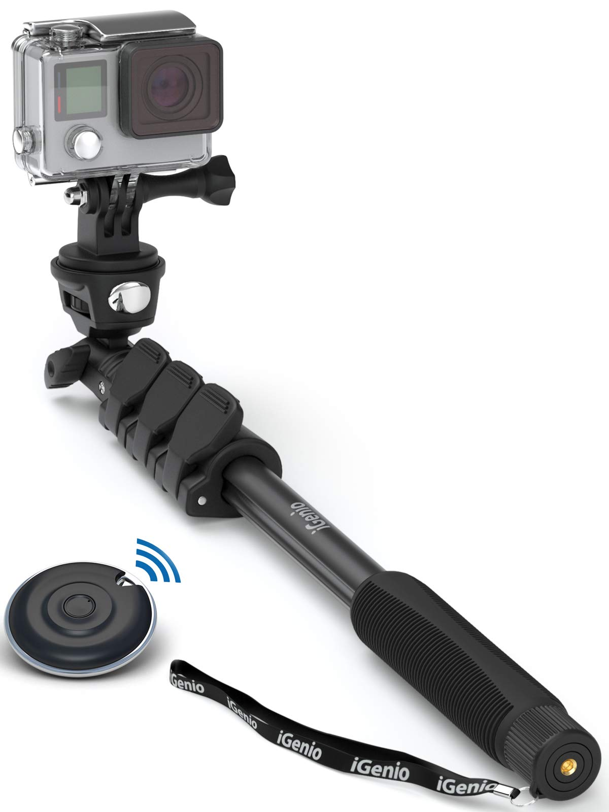 Professional 10-in-1 Monopod Selfie Stick for All GoPro Hero, Action Cameras, Cellphones, Digital Compacts with Bluetooth Remote Shutter - Extends 15''- 47'', Weatherproof Shockproof - Take It Anywhere