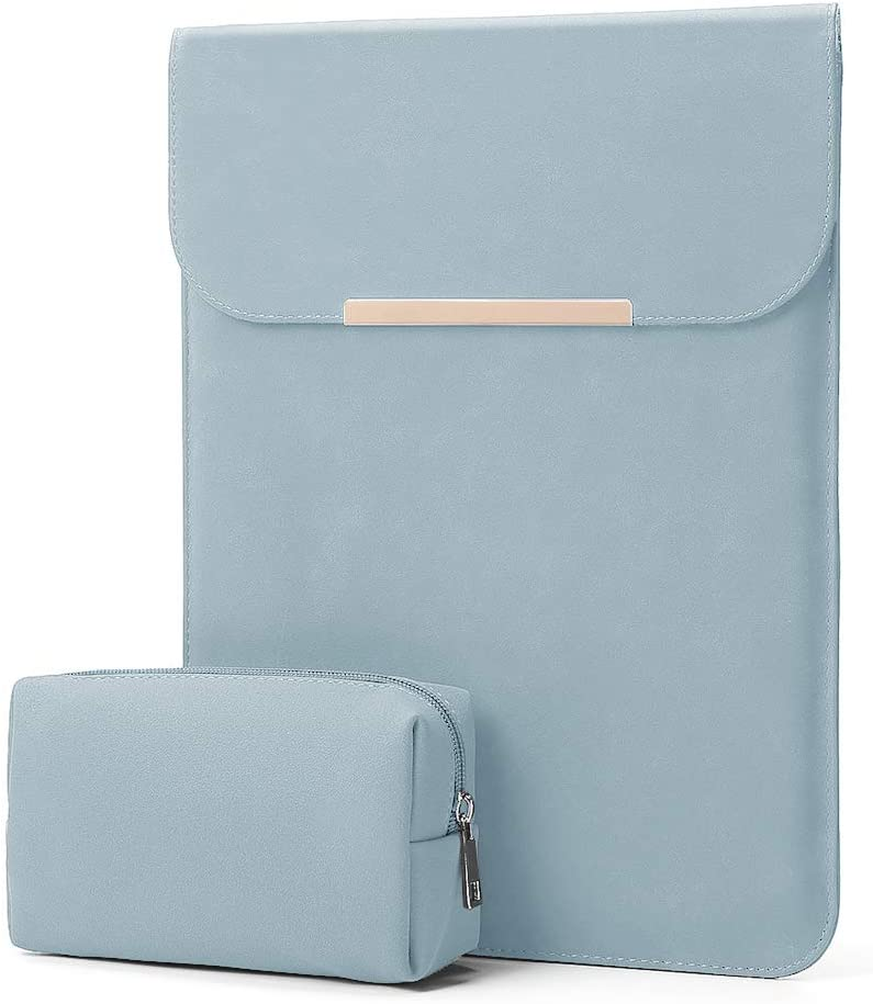 "KALIDI 13.3 inch Laptop Sleeve Case Faux Suede Leather for MacBook Air Pro Retina 2016-2020, for 13""-13.5"" Surface Pro 5 6 7 with Pouch (for 13.3 inches MacBook/Pro/Air, Sky Blue)"