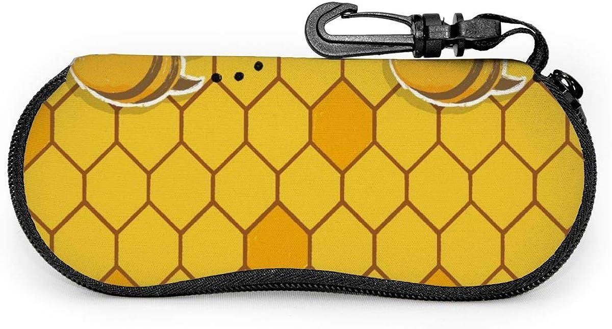 Carneg Gafas de sol portátiles Erson Bee con hebilla de bloqueo Bolsa suave Funda de gafas con cremallera de tela de buceo ultraligera