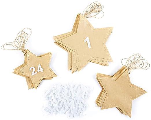Heitmann Deco Sterne Adventskalender Mit Filz Zahlen Zum Selber Basteln Machen Papier Sterne Zum Aufhängen Befüllen 131620 Cm