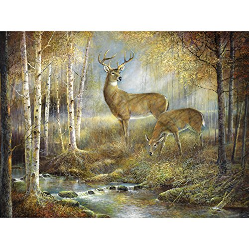 Bits and Pieces - 300 Large Piece Jigsaw Puzzle for Adults - The Buck Stopped Here - 300 pc Deer in the Forest Jigsaw by Artist Ruane Manning
