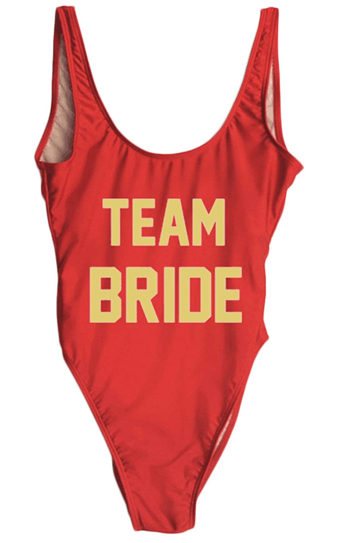 ecc092efb0b5f Amazon.com: MAXIMGR Woman's Sexy Retro Team Bride Letters Prints One Piece  Swimsuit Swimwear: Clothing