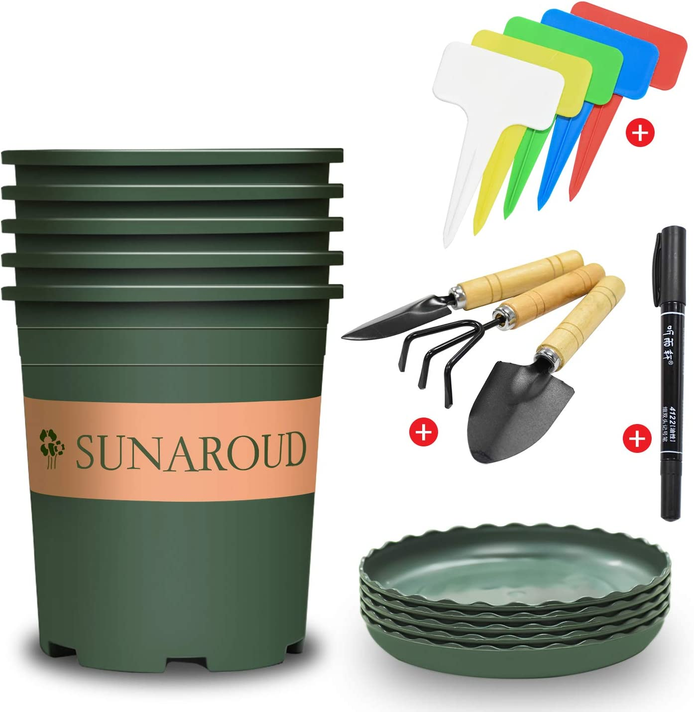 Planter Nursery Garden Pots with Drainage Trays (1 Gallon ), Flower Pots with 5 Labels, 1 Waterproof Pen and 3 Small Shovel Spade, Plastic pots Set for Plants Indoor Outdoor Fit Flowers, Vegetables