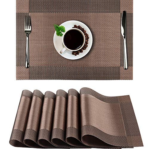 (Placemats Set of 6, PVC Heat Resistant Placemat Washable Non-Slip Table Mats Set of 6 for Dining Kitchen Restaurant Table Decoration (Brown))