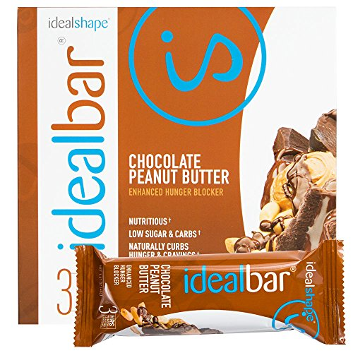 IdealBar, Meal Replacement Bars, Chocolate Peanut Butter, w/ Hunger Blocker - 140 Calories, 8g Sugar, 10g Protein - 7 Bars (Ideal Shape Chocolate compare prices)