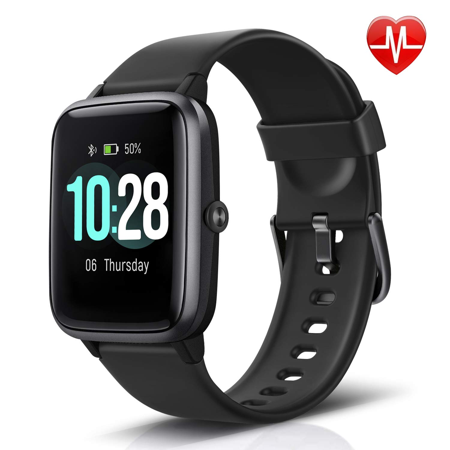 LETSCOM Fitness Tracker with Heart Rate Monitor, Smart Watch, Activity Tracker, Step Counter, Sleep Monitor, Calorie Counter, 1.3'' Touch Screen, IP68 Waterproof Pedometer Watch for Kids Women Men by LETSCOM