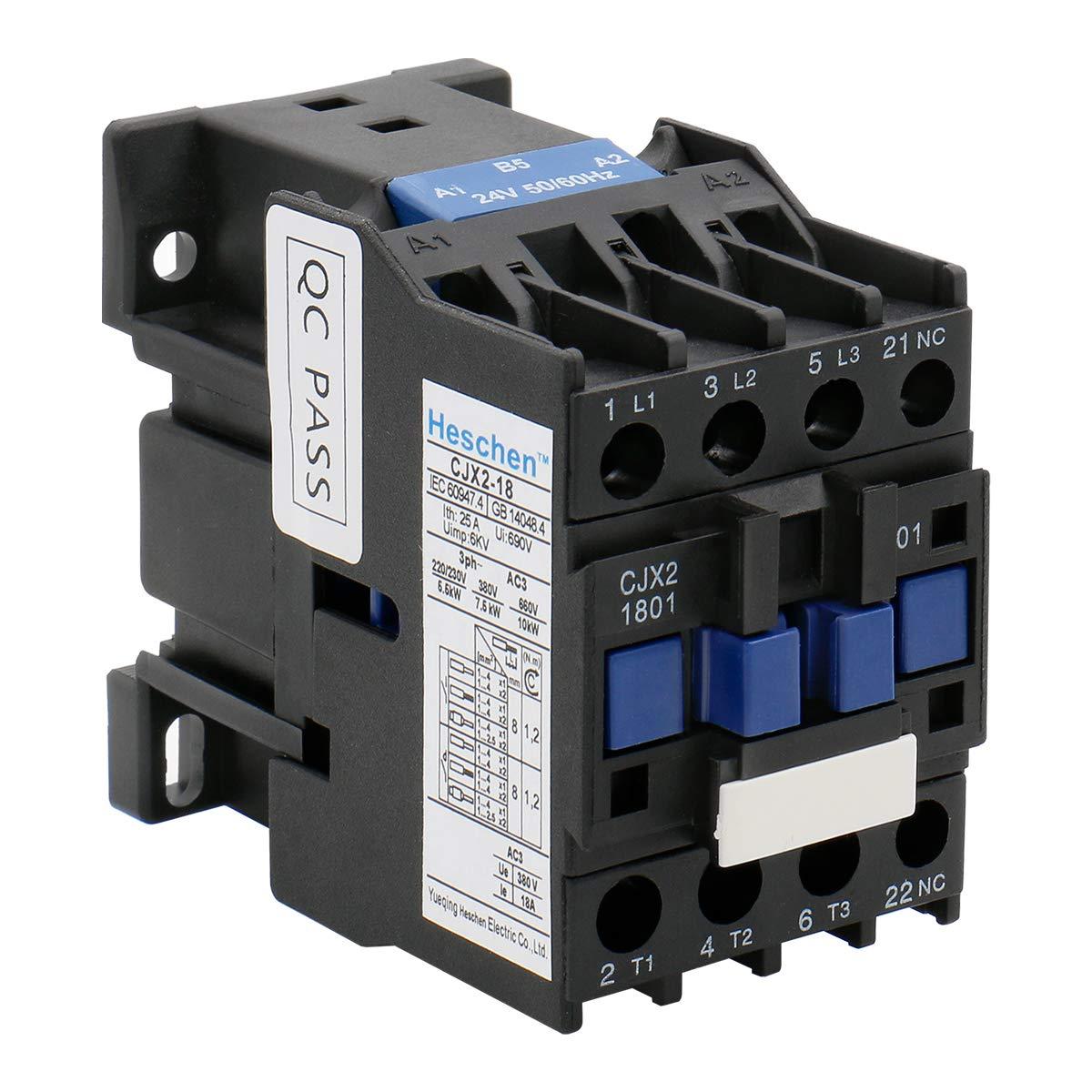 Heschen AC Contactor CJX2-1801 24V 50/60Hz Bobina 3P 3 polos normalmente cerrado Ie 18A Ue 380V