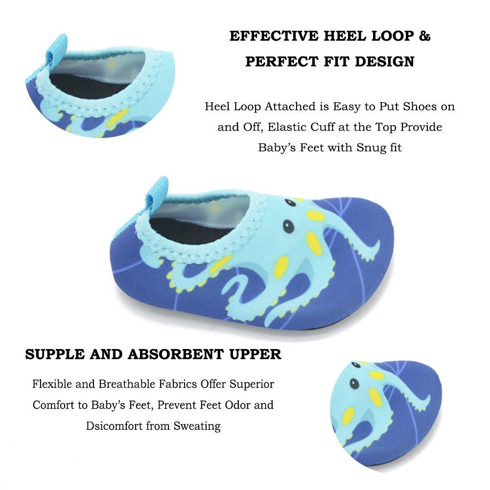 Lauwodun Baby Boys Girls Water Shoes Barefoot Aqua Sock Shoes for Beach Pool Surfing Yoga Swimming Walking-Green Octopus1819 by Lauwodun (Image #3)