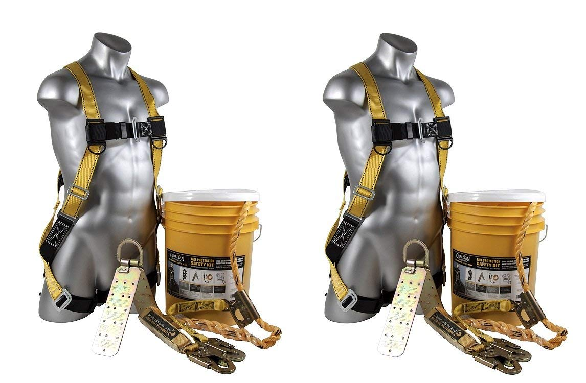Guardian Fall Protection (Qualcraft) 00815 BOS-T50 Bucket of Safe-Tie with Temper Anchor, 50-Foot Vertical Lifeline Assembly and HUV (2 Kits) by Guardian Fall Protection (Image #1)