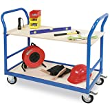 Tischwagen, blau, LxB 1140 x 500 mm Höhe 890 mm, Tragkraft 250 kg, 2 Böden