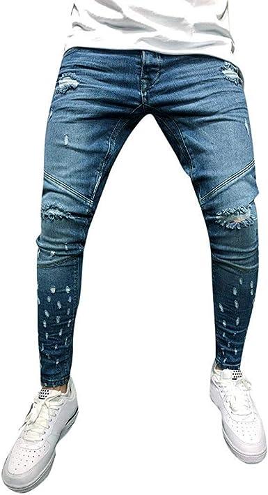 Pantalones Vaqueros Para Hombres Destroyed Look Slim Fit Skinny Denim Casual Pantalones De Festivo Mezclilla Rasgados Para Hombres Pantalones Casuales Joggers Jeans Pantalones Elasticos Cremallera Amazon Es Ropa Y Accesorios