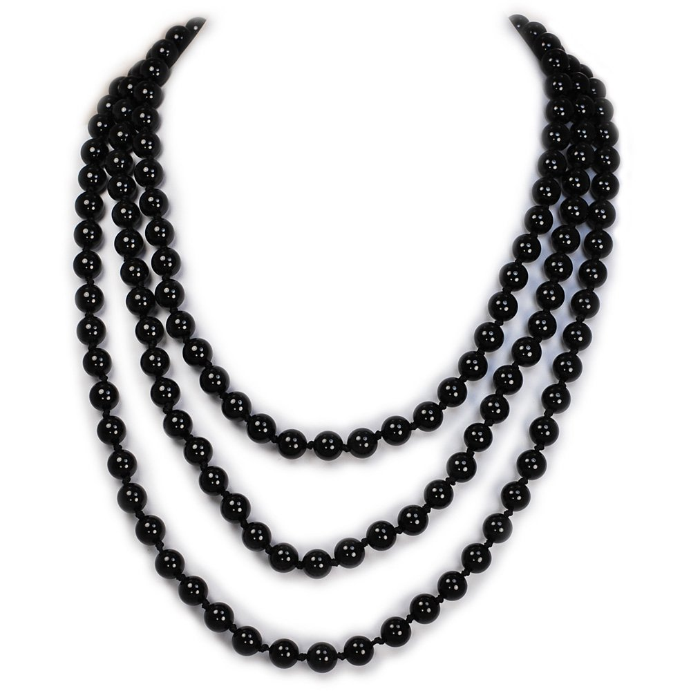 004 Ny6design Gorgeous! Round Black Onyx Long Hand-Knotted Necklace 60 N16040512d 2016_0405_12d