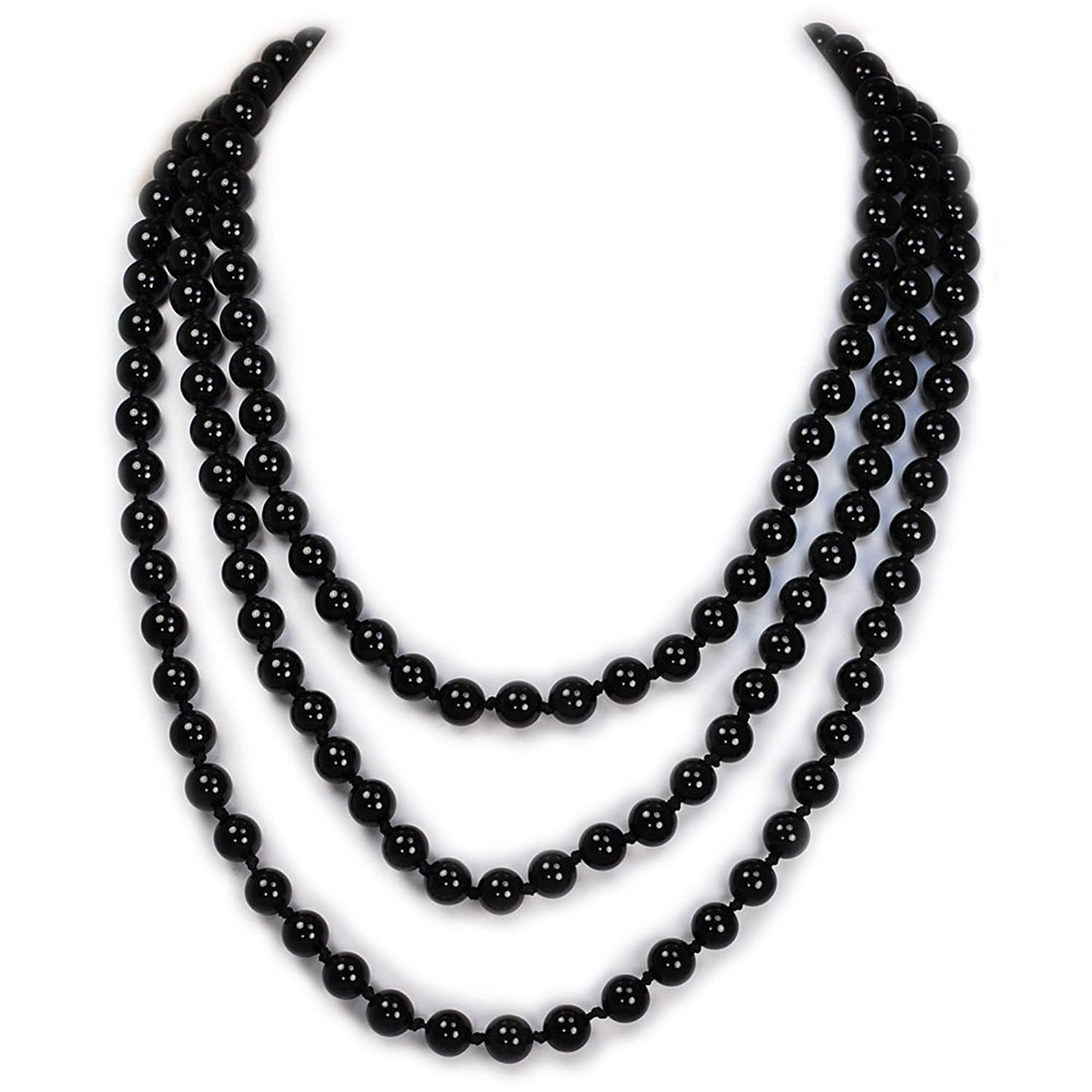 "004 Ny6design Gorgeous! Round Black Onyx Long Hand-Knotted Necklace 60"" N16040512d"