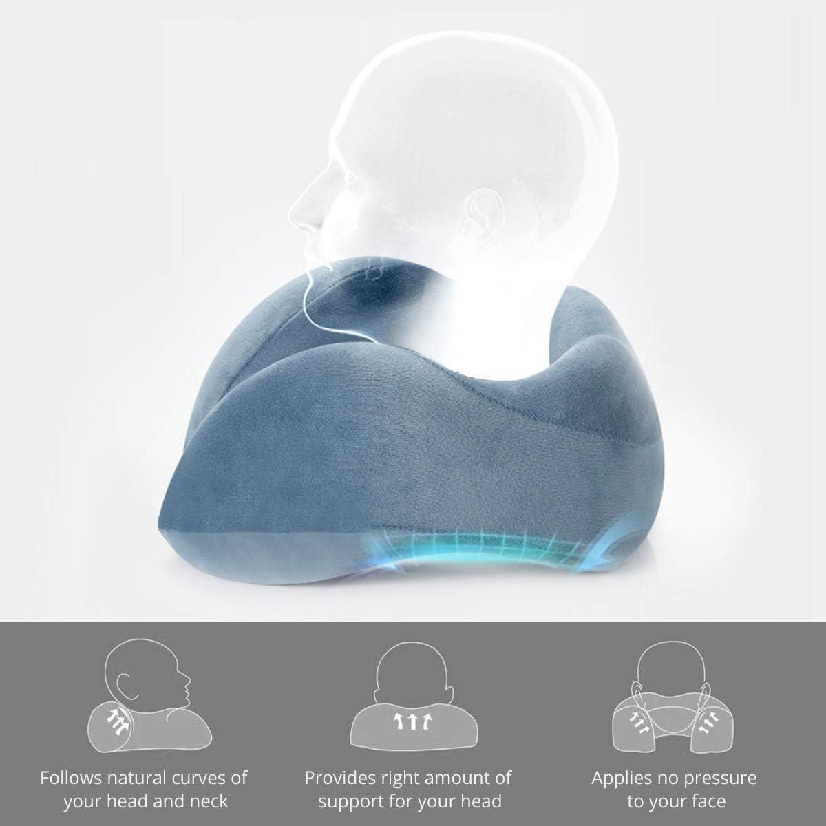 Emolli Oreiller de Voyage Portable avec Masque de Sommeil Coussin de Soutien pour Oreiller Cervical en Mousse /à m/émoire de Forme avec Coussin de Rangement Rapide et l/éger pour vol Long-courrier