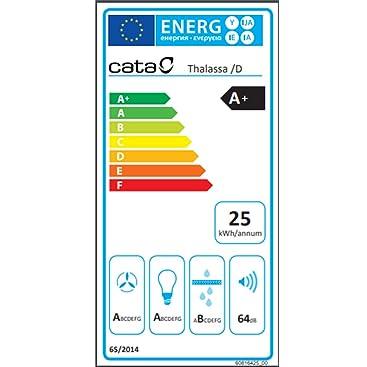 Cata - Campana extractora, Modelo THALASSA 700XGWH, 5 velocidades de extracción, cocina 820m3/h - 200m3/h, Acabado en cristal Blanco/Negro: 339.8: Amazon.es: Grandes electrodomésticos