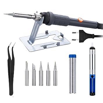 Homasy - Kit de soldadura eléctrico ajustable, 60 W, soldador con 5 piezas,