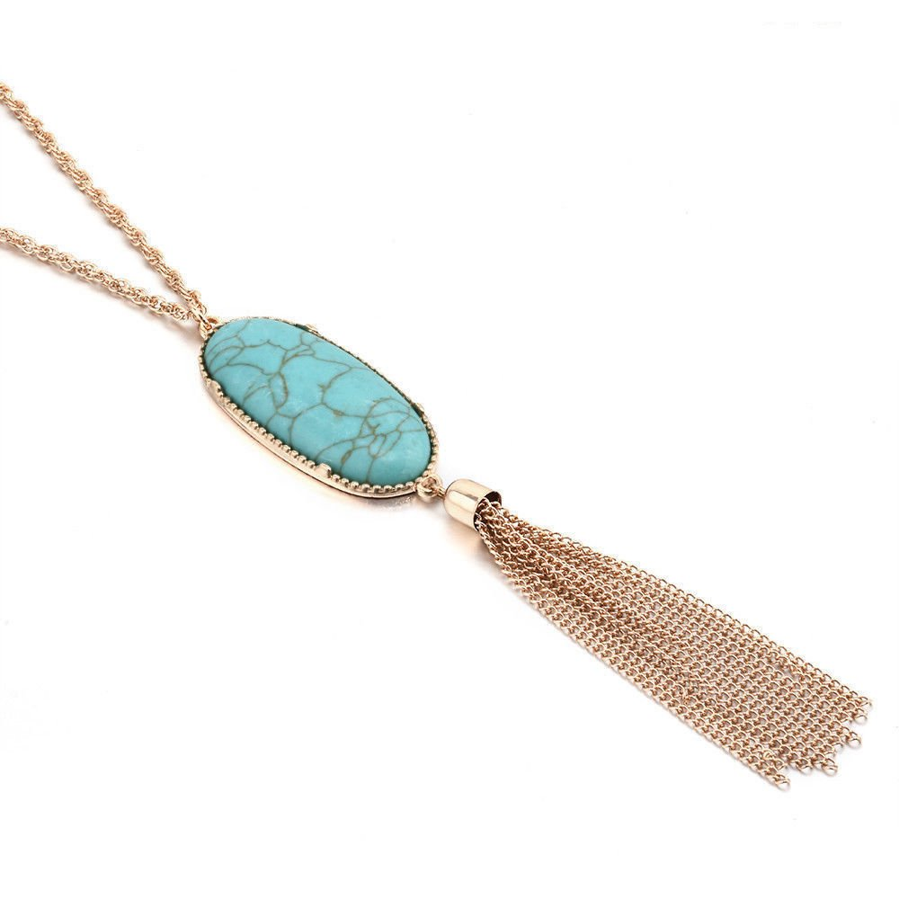 BNQL Long Gold Tassel Necklace Turquoise Druzy Necklace for Women (Turquoise)