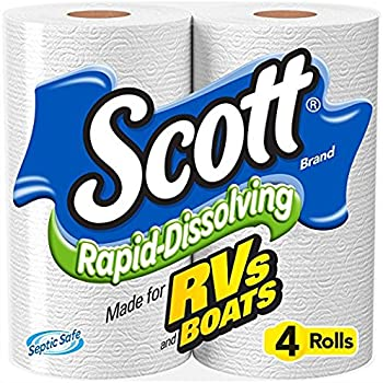 Scott Rapid-Dissolving Toilet Paper, 4 Rolls, Bath Tissue pack of 12
