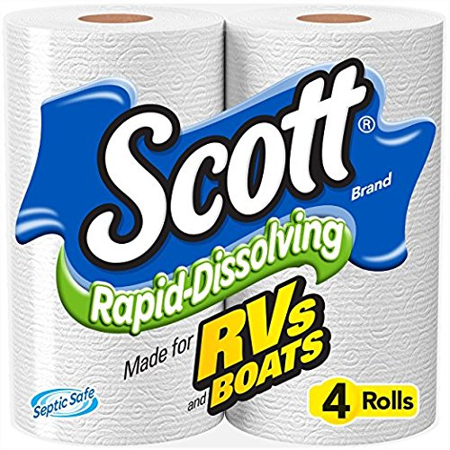 Scott Rapid-Dissolving Toilet Paper, 4 Toliet Paper Rolls, Bath Tissue for RV & Boats