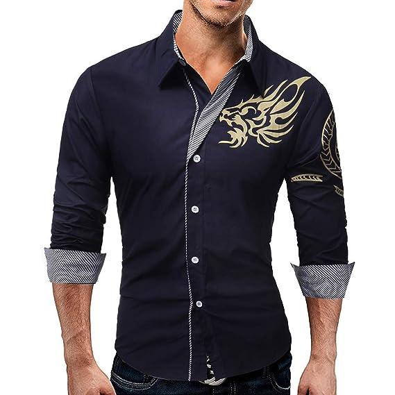 Blusa de Hombre, BaZhaHei, Camisa Estampada Delgada Casual para Hombres de Manga Larga de