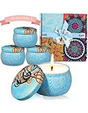 Scented Candles Gift Sets 4 Pack (16.7OZ) Citronella Candles Set Indoor Outdoor Mosquito Fly Insect Repellent 100% Natural Soy Wax Bath Yoga Relax Aromatherapy Travel Tin for Mother`s Day Anniversary