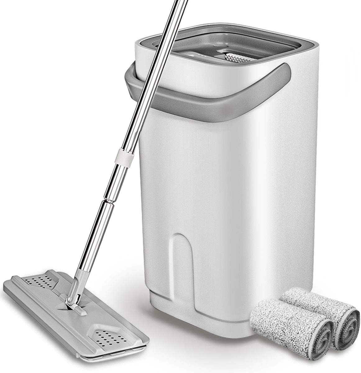 LESNIC Microfiber Flat Mop with Bucket Set, Floor Cleaning Squeeze Hand Free Floor/Ceiling Mop for Home, Office, Etc, 2 Reusable & Washable Mop Pads, Stainless Steel Handle White Grey