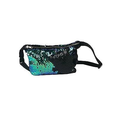Reversible Mermaid Sequin Glitter Waist Fanny Pack Belt Bum Bag Pouch Hip Purse