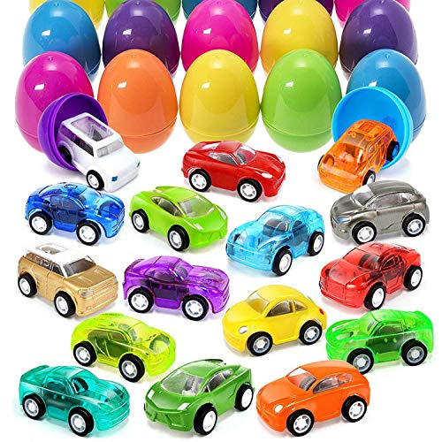 Kicko Mini Pull Back Car Filled Surprise Eggs - 12 Pack - 2 Inch - for Kids, Party Favors, Stocking Stuffers, Classroom Prizes Decorations, Birthday Supplies, Holidays, Pinata Fillers and Rewards