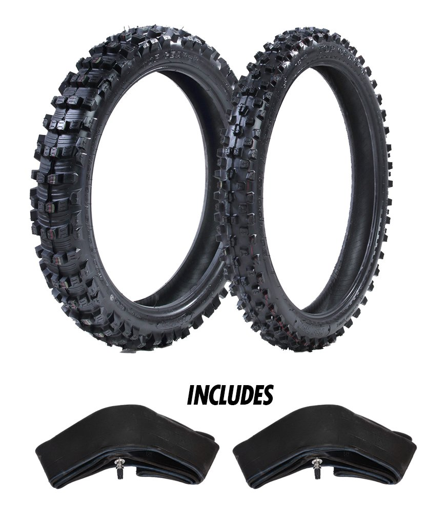 ProTrax Motocross Offroad Front 80/100-21' & Rear 100/90-19' Tires & Tubes Combo Kit - Soft, Sandy, Muddy Terrain