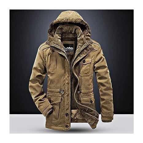 SRL Parka Abrigos para Hombre con Capucha de Piel Chaquetas cálidas de Invierno para Hombres Abrigo