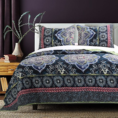 Adventure Twin Quilt (Barefoot Bungalow Twyla Midnight Quilt Set, 2-Piece Twin)